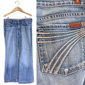 7FAM Dojo Bootcut Jeans Embroidered Pockets